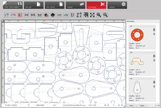 CNC cutting software screen shot
